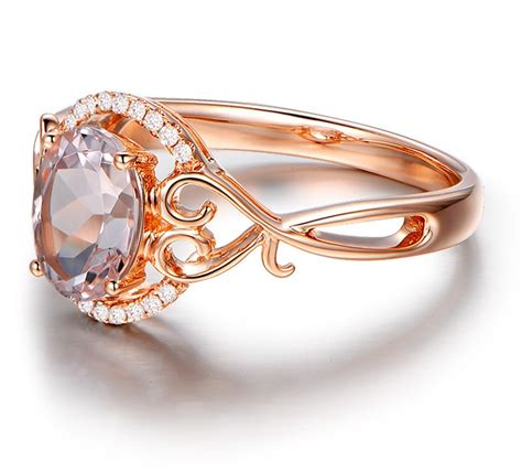 vintage 1 carat morganite and engagement ring in