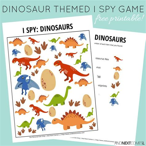 printable games for students dinosaur themed i spy game free printable for kids spy