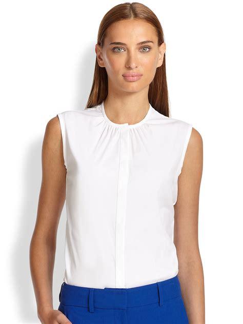 sleeveless blouse white piazza sempione cotton poplin sleeveless blouse in white
