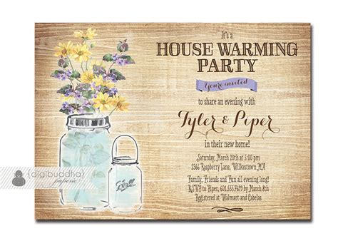 jar housewarming invitation rustic wood watercolor