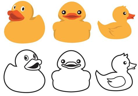 Rubber duck color and outline vector download free vector art stock graphics amp images