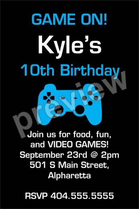 printable birthday cards video games game on video game invitation select color personalized
