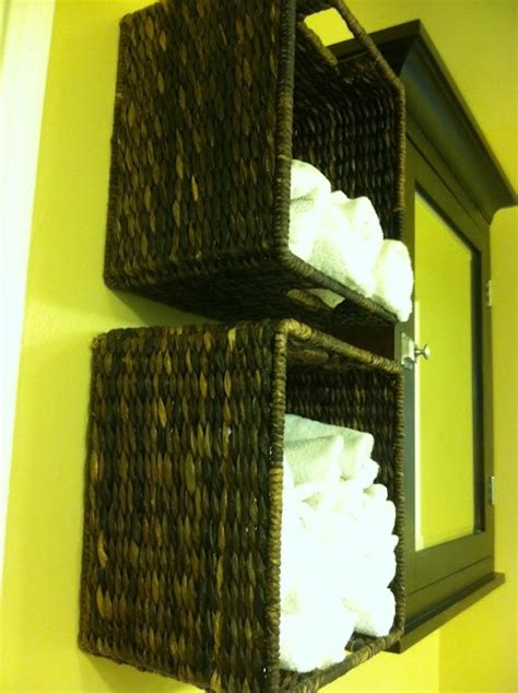 bathroom wall storage baskets fantastic idea for towel storage in a bathroom wall