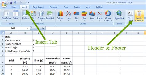 creating header and footer in excel header inert
