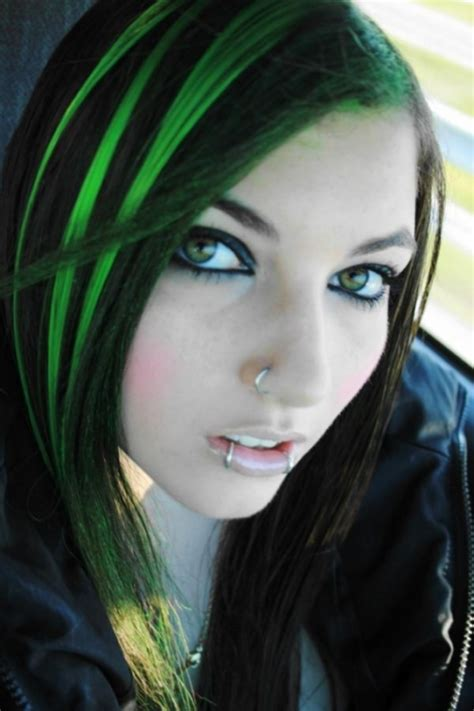 hairstyles with green highlights pictures of neon green underneath brown hair dye short