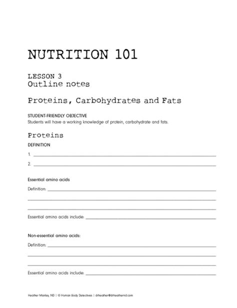 Health Worksheets For Middle School Students by Middle High School Nutrition 101