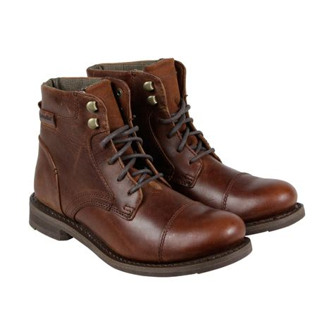 brown mens dress boots cat newfound mens brown leather casual dress lace up boots