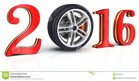 3d happy new year 2016 with car wheel stock illustration