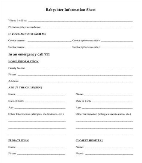 nanny information sheet template information sheet template 6 free word pdf