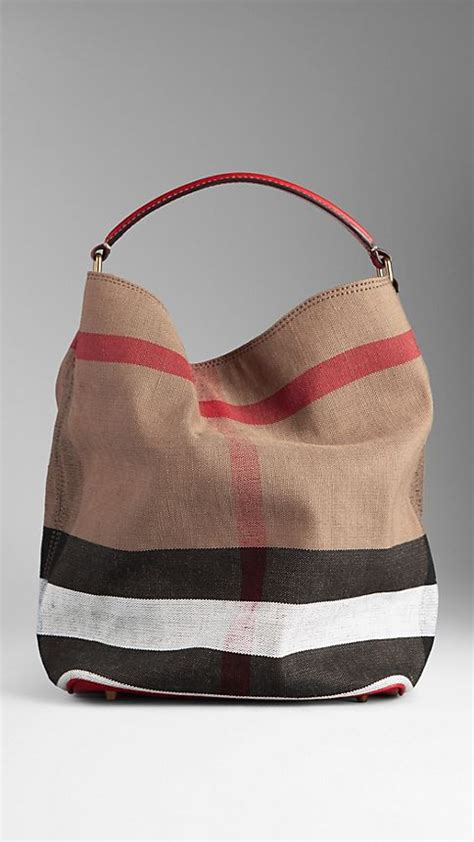 Burberry Check Canvas Hobo Bag Bliss by Buckle Detail House Check Ballerinas