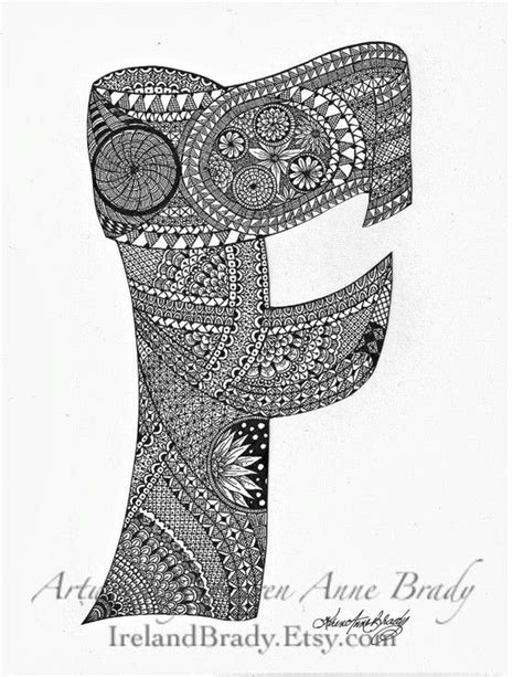 doodle inisial aceo alphabet letter f zentangle doodle initial by