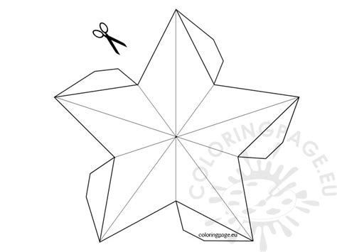 3d Star Template Coloring Page 3d Ornament Templates