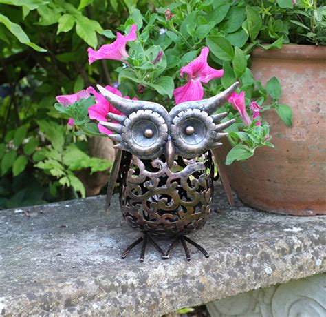 Garden Owl by Metal Silhouette Led Solar Garden Light Owl By Garden