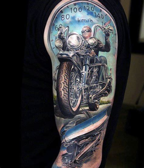 biker tattoos for men 60 motorcycle tattoos for two wheel design ideas