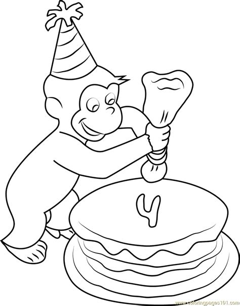 curious george coloring pages birthday curious george making birthday cake coloring page free