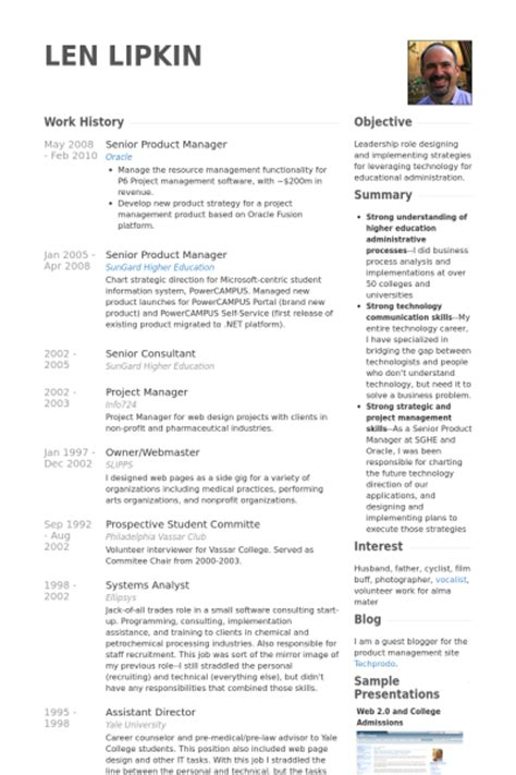 senior product manager cv beispiel visualcv lebenslauf