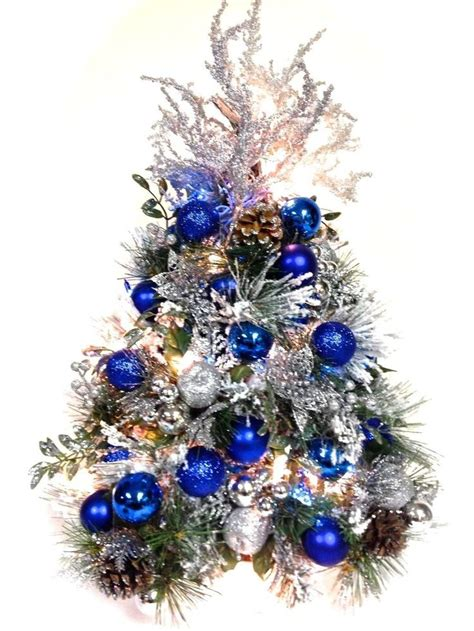 blue silver flocked tabletop tree prelit