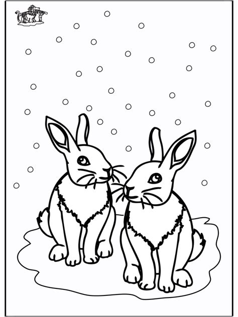coloring pages animals in winter rabbits winter animals