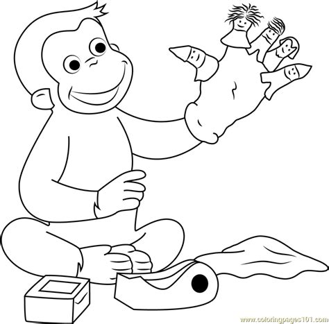 curious george coloring pages games curious george playing puppets fingers game coloring page