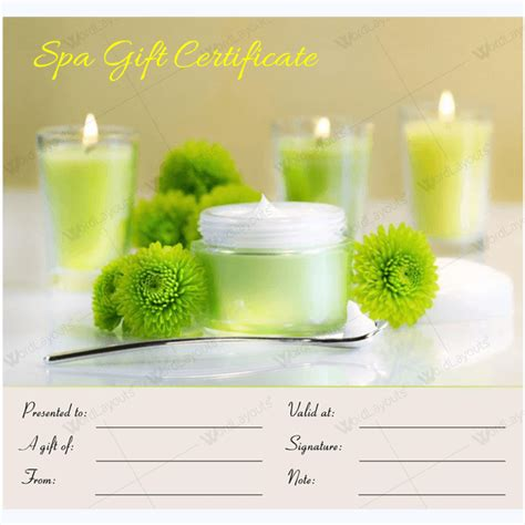 spa gift certificate template free gift certificate 17 word layouts