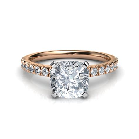 pave engagement ring thin cut pave cushion cut engagement ring