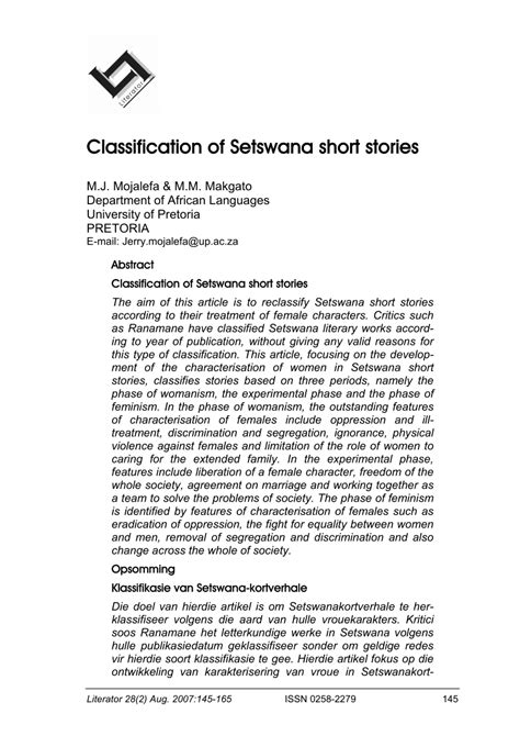 (PDF) Classification of Setswana short stories