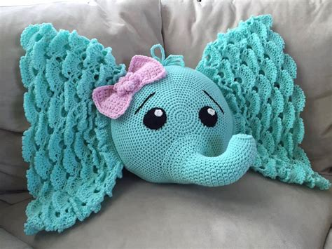 crochet elephant pillow j n roofing maintenance llc