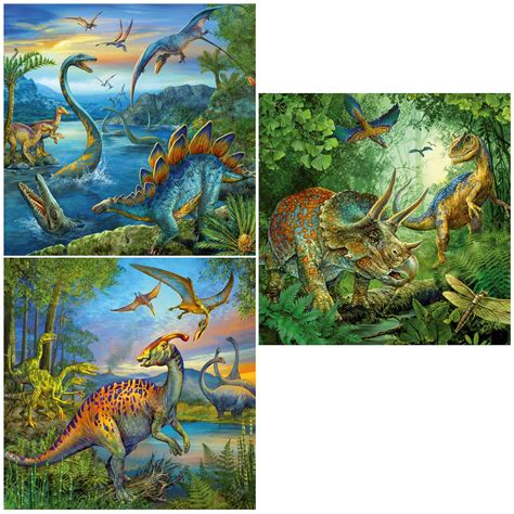 500 Jigsaw Puzzle Dinosaurs jigsaw puzzle 3 x 49 pieces dinosaur fascination