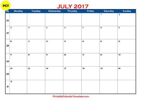 blank calendar template july 2017 calendar printable printable calendar templates