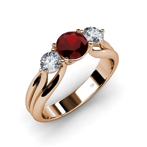 red stone rings shop for red stone rings on polyvore red garnet diamond 3 stone ring with thick shank 1 44