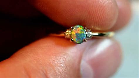Solid Black Fire Opal 18k Yellow Solid Gold Engagement