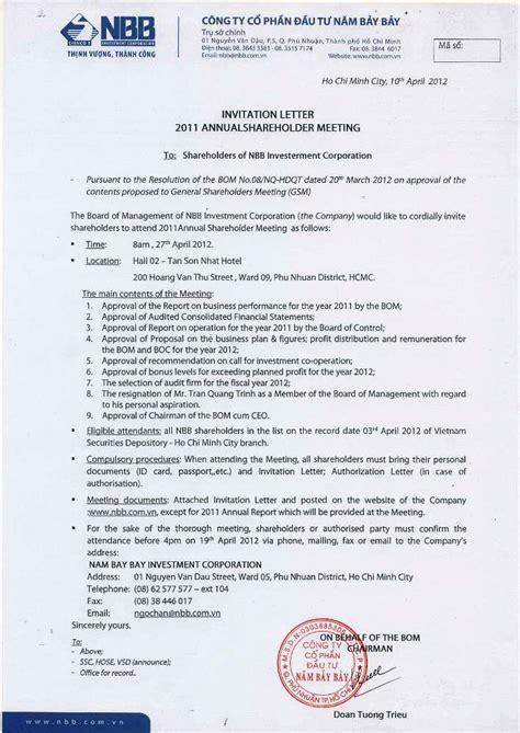 Invitation Letter For Shareholder Meeting Nbb Investment Corporation