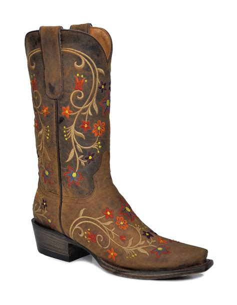 nib stetson womens cowboy boots brown leather western