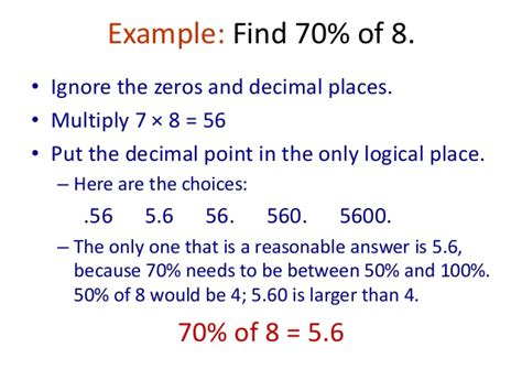 Finding The In Percent Of A Number With Decimals By Multiplying