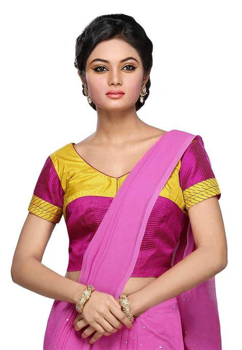 Id 0136 V Neck Ethnic Blouse buy magenta yellow color v neck style half sleeve design