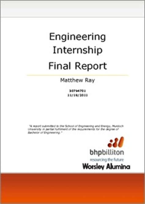 engineering internship final report bhp billiton