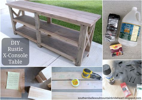 diy rustic sofa table ana white diy rustic x console table diy projects