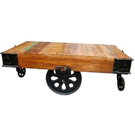 industrial cart coffee table argo industrial warehouse cart coffee table bare outdoors