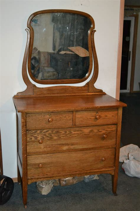 Antique Oak Bedroom Dresser Or Small Chest With Mirror Oak Bedroom Dresser