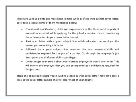 Cover Letter For A Cashier – Cashier Cover Letter Example ? Cover Letters and CV Examples