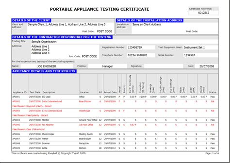 pat certificate template easypat portable appliance testing software