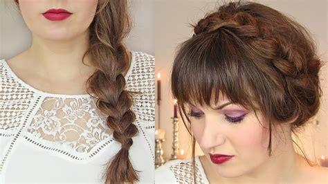 cute hairstyles  thin hair thick braid milkmaid updo