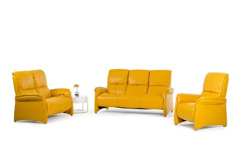 divani casa sunflower modern yellow italian leather sofa set