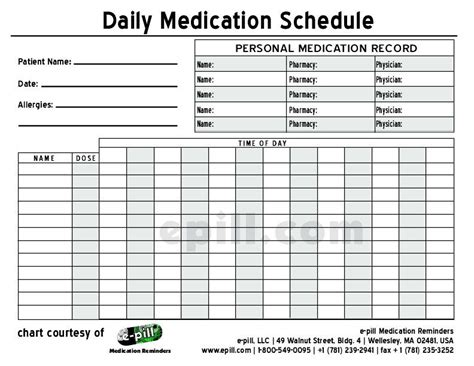 Pharmacist Schedule Template Free Daily Medication Schedule Free Daily Medication