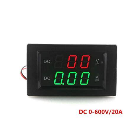 dc 0 600v 20a digital voltmeter ammeter dc volt tester