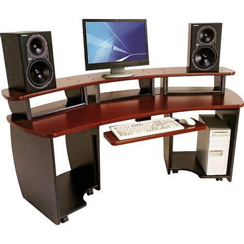 Media Workstation Desk by Omnirax Omnidesk Audio Editing Workstation Mahogany Musician S Friend