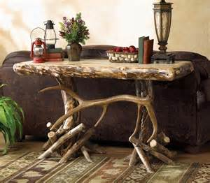 sofa table decorations rustic aspen elk antler consolesofa table reclaimed