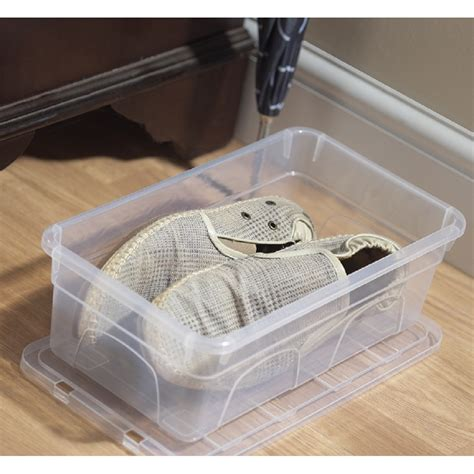 plastic shoe storage boxes with lids buy 4 5lt 33cm spacemaster mini plastic shoe box with lid