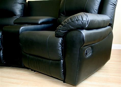 sofa movie home theater seating black genuine real leather sectional