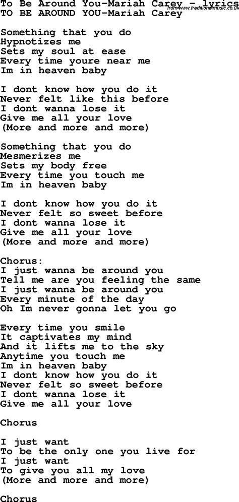 lyrics carey song lyrics for to be around you carey